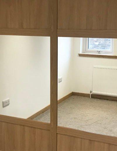 closed sliding doors with windows